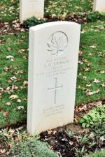"""In fond memory of a loving son and brother"" Sapper Johnson's headstone at Beny-Sur-Mer"