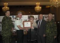 Shirley O'Connell with // avec CWO Swift, MGen McQuillan, LCol Ken Holms (Ret'd) and Col Comdt Steve Irwin