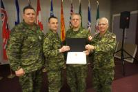 CWO R.G. Swift (CME Branch CWO), MGen J.S. Sirois (CAF Chief Military Engr), Sgt J.J.C. Maillet and the CME Branch Col Cmdt, BGen S.M. Irwin (Ret'd). Presentation date: 16 Feb 2017