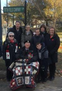 Stanley Fields and family at 5th Field Company commemoration ceremony at Queen;s University November 2017