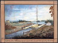 Lock at the isthmus, the last ascent to the Summit Water of the Canal from Lake Ontario; 1841 Thomas Burrowes, watercolour (Archives of Ontario - from Passfield, 1982)